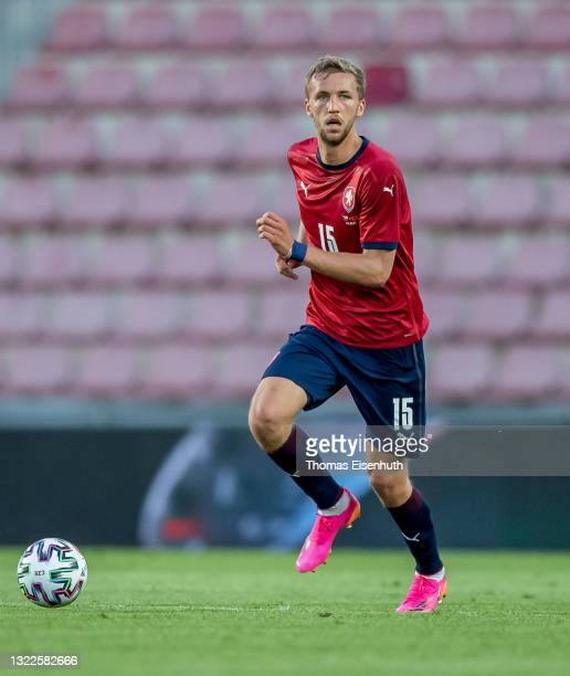 Tomas Soucek of the Czech Republic in action during the international friendly match between the Czech Republic and Albania at Generali Arena on June...