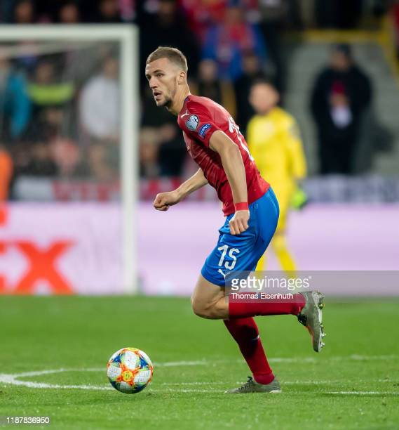 Tomas Soucek of the Czech Republic in action during the UEFA Euro 2020 Qualifier between Czech Republic and Kosovo on November 14, 2019 at Doosan...