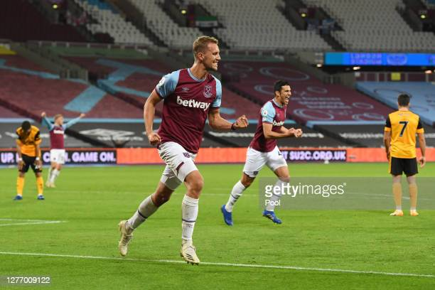 Tomas Soucek of West Ham United celebrates after scoring his sides third goal during the Premier League match between West Ham United and...