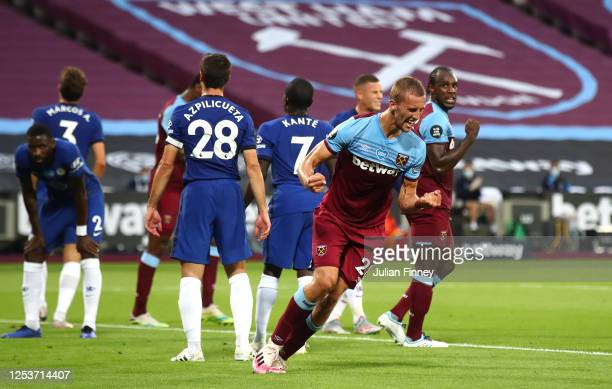 Tomas Soucek of West Ham United celebrates after scoring his team's first goal during the Premier League match between West Ham United and Chelsea FC...