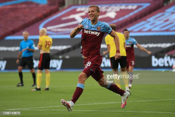 Tomas Soucek of West Ham United celebrates after scoring his team's second goal during the Premier League match between West Ham United and Watford...