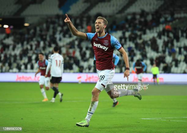 Tomas Soucek of West Ham United celebrates after scoring his team's first goal during the Premier League match between West Ham United and Manchester...