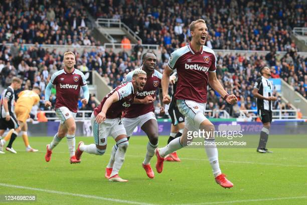 Tomas Soucek of West Ham United celebrates after scoring their 3rd goal during the Premier League match between Newcastle United and West Ham United...
