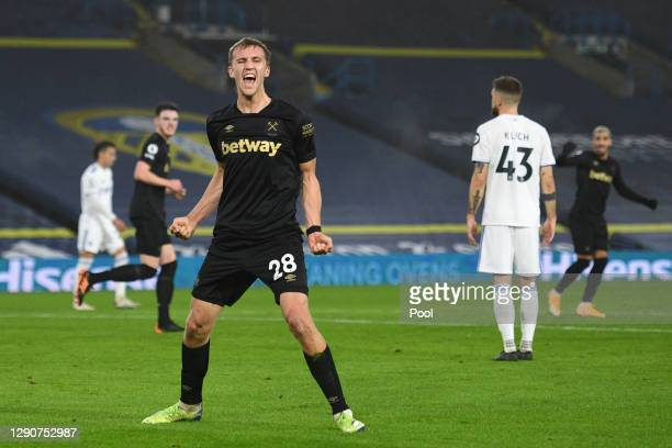 Tomas Soucek of West Ham United celebrates after scoring their sides first goal during the Premier League match between Leeds United and West Ham...