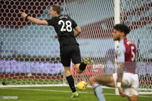 Tomas Soucek of West Ham United celebrates after scoring their side's first goal during the Premier League match between Aston Villa and West Ham...