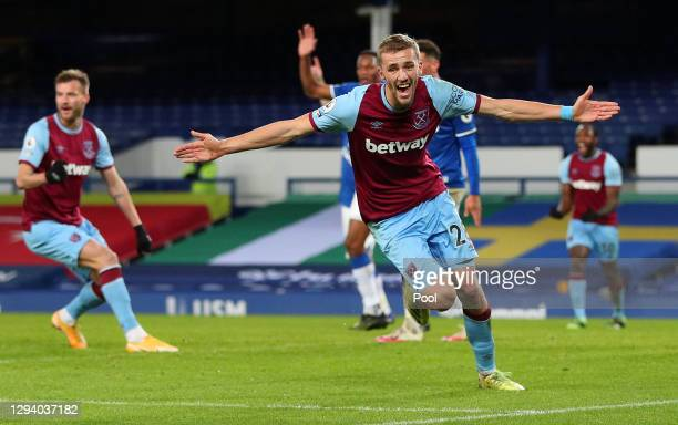 Tomas Soucek of West Ham United celebrates after scoring their team's first goal during the Premier League match between Everton and West Ham United...
