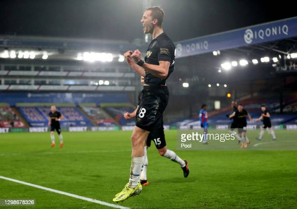 Tomas Soucek of West Ham United celebrates after scoring their team's second goal during the Premier League match between Crystal Palace and West Ham...
