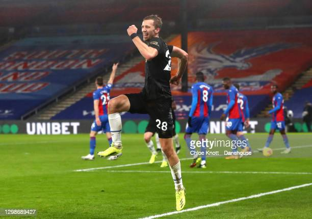 Tomas Soucek of West Ham United celebrates scoring his teams second goal during the Premier League match between Crystal Palace and West Ham United...