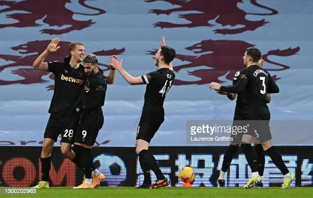 Tomas Soucek of West Ham United celebrates with team mates Said Benrahma, Declan Rice and Aaron Cresswell after scoring their side's first goal...