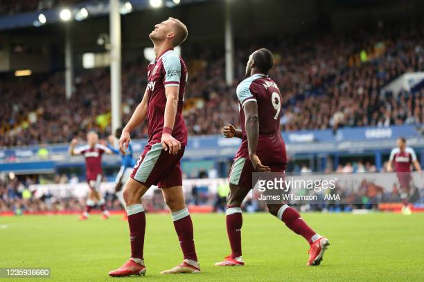 Tomas Soucek of West Ham United reacts after his goal is ruled out during the Premier League match between Everton and West Ham United at Goodison...