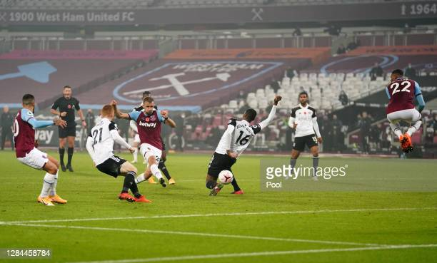 Tomas Soucek of West Ham United scores his team's first goal during the Premier League match between West Ham United and Fulham at London Stadium on...