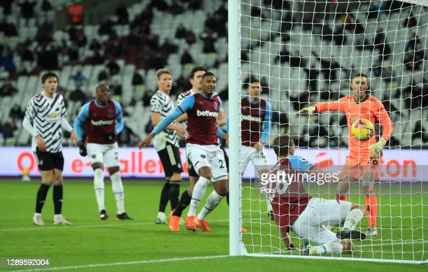 Tomas Soucek of West Ham United scores his team's first goal during the Premier League match between West Ham United and Manchester United at London...