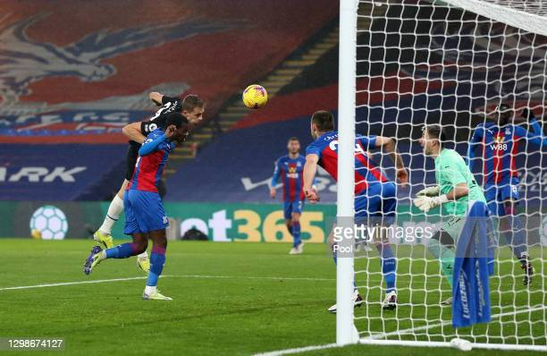 Tomas Soucek of West Ham United scores their team's first goal past Vicente Guaita of Crystal Palace during the Premier League match between Crystal...