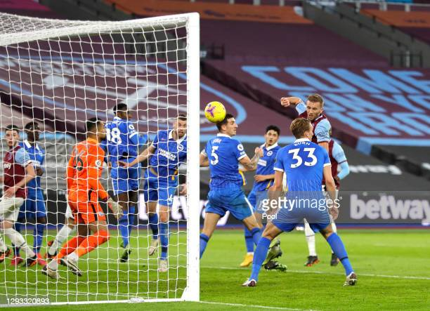 Tomas Soucek of West Ham United scores their team's second goal during the Premier League match between West Ham United and Brighton & Hove Albion at...