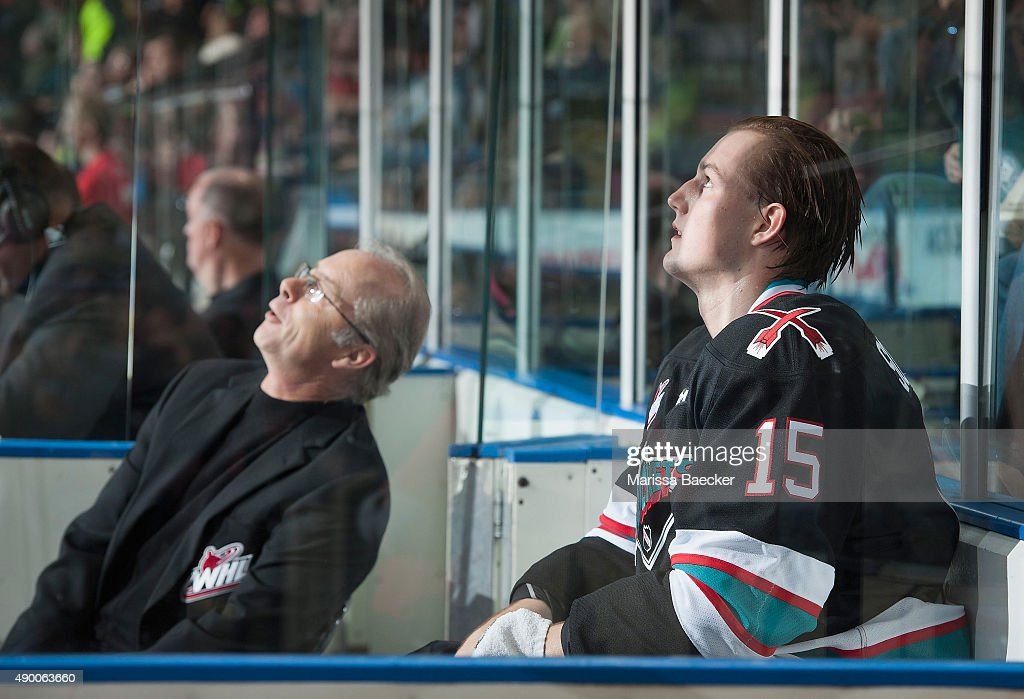 Tomas Soustal #15 of Kelowna Rockets sits in the penalty box and watches the replay on the jumbotron against the Kamloops Blazers on September 25, 2015 at Prospera Place in Kelowna, British Columbia, Canada.