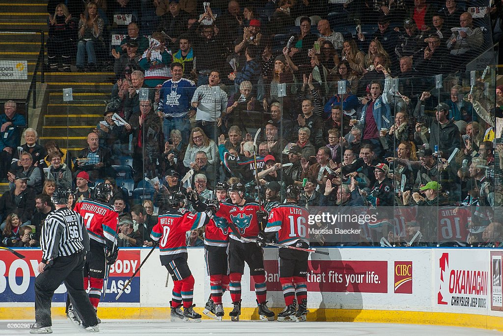Tomas Soustal #15 of the Kelowna Rockets celebrates a second period goal against the Regina Pats on November 26, 2016 at Prospera Place in Kelowna, British Columbia, Canada.