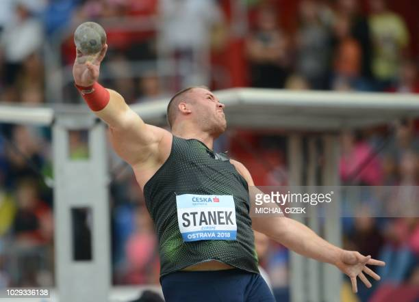 Tomas Stanek of Czech Republic from Team Europe competes in the Men Shot Put event at the IAAF Continental Cup on September 8, 2018 in Ostrava, Czech...