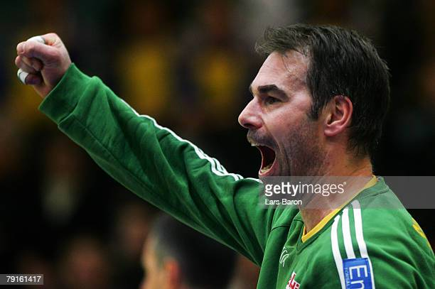 Tomas Svensson of Sweden celebrates after a save during the Men's Handball European Championship main round Group II match between Hungary and Sweden...