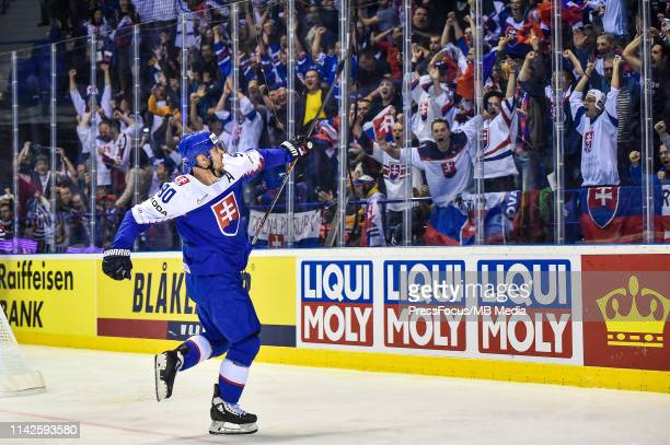 Tomas Tatar of Slovakia celebrates scoring a goal during the 2019 IIHF Ice Hockey World Championship Slovakia group A game between United States and...