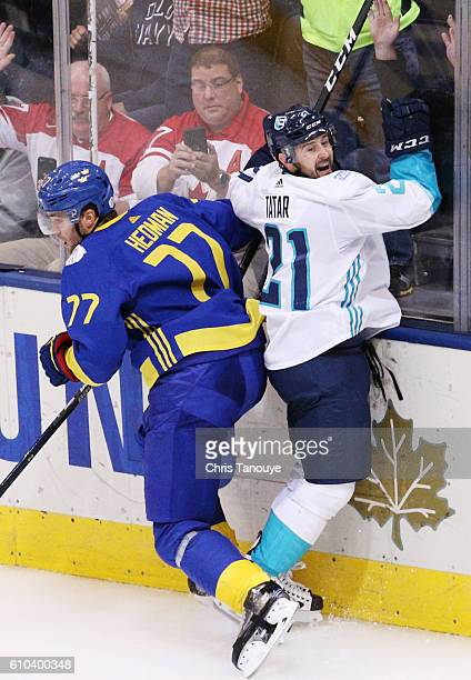 Tomas Tatar of Team Europe celebrates his game winning goal in overtime against Team Sweden at the semifinal game during the World Cup of Hockey...