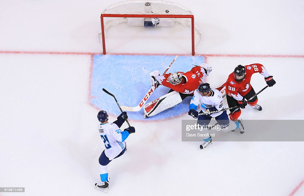 Tomas Tatar #21 of Team Europe scores a goal on Carey Price #31 of Team Canada as Marian Hossa #81 of Team Europe battles with Brent Burns #88 of Team Canada during Game One of the World Cup of Hockey 2016 final series at Air Canada Centre on September 27, 2016 in Toronto, Canada.
