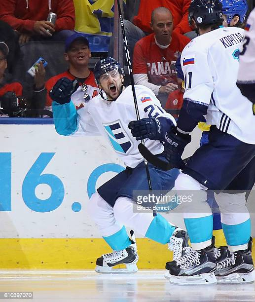 Tomas Tatar of Team Europe scores the go ahead goal to put Europe up 21 over Sweden during the third period at the semifinal game during the World...