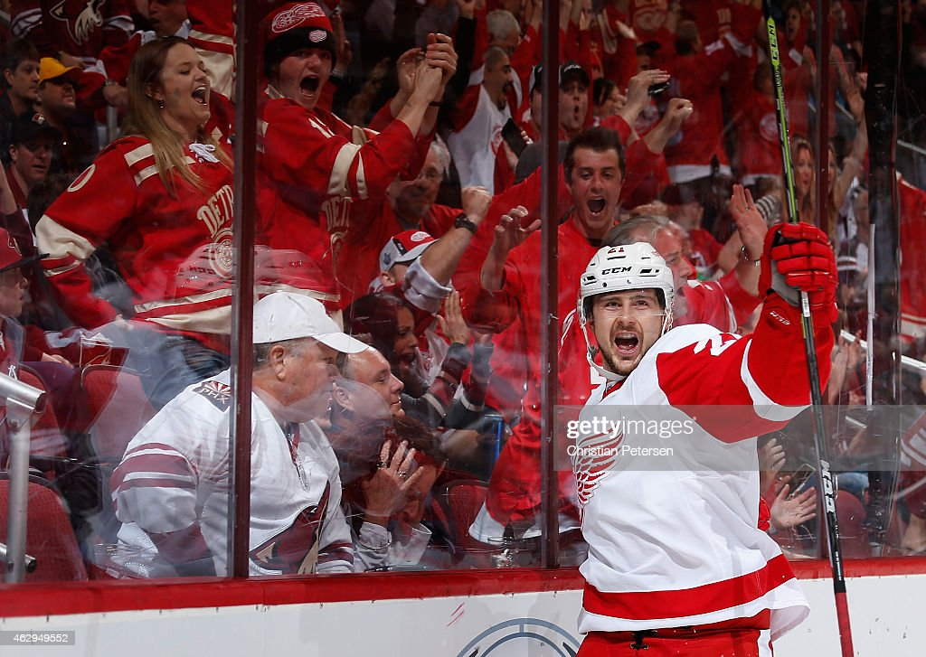 Tomas Tatar #21 of the Detroit Red Wings celebrates after scoring a third period goal against the Arizona Coyotes during the NHL game at Gila River Arena on February 7, 2015 in Glendale, Arizona. The Red Wings defeated the Coyotes 3-1.