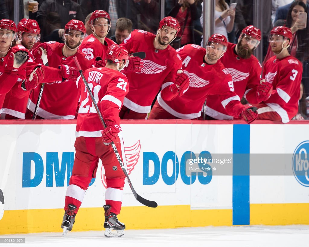 Tomas Tatar #21 of the Detroit Red Wings pounds gloves with teammates on the bench following his third period goal during an NHL game against the Nashville Predators at Little Caesars Arena on February 20, 2018 in Detroit, Michigan.