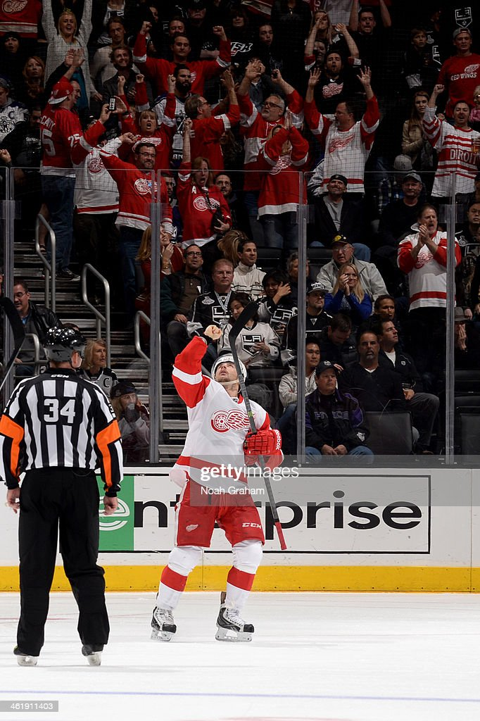 Tomas Tatar #21 of the Detroit Red Wings reacts after scoring a goal against the Los Angeles Kings at Staples Center on January 11, 2014 in Los Angeles, California.