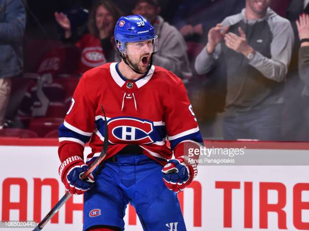 Tomas Tatar of the Montreal Canadiens reacts after scoring a third period goal against the Boston Bruins during the NHL game at the Bell Centre on...