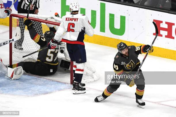 Tomas Tatar of the Vegas Golden Knights celebrates after assisting teammate David Perron on a secondperiod goal against the Washington Capitals in...