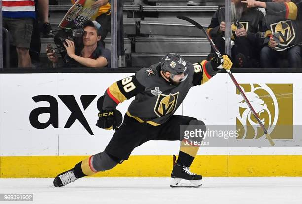 Tomas Tatar of the Vegas Golden Knights celebrates after scoring a goal during the second period against the Washington Capitals in Game Five of the...