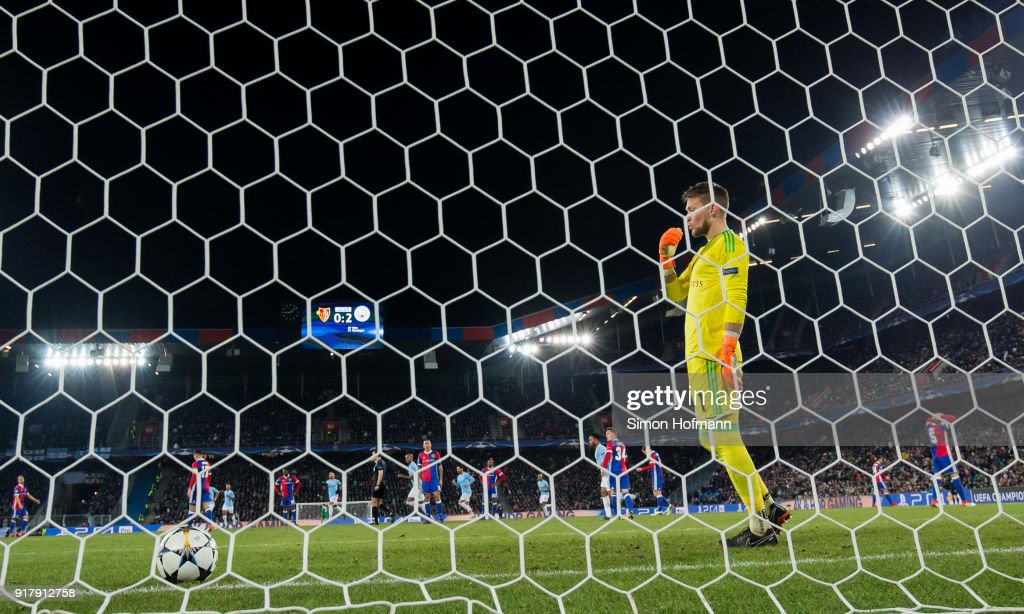 Tomas Vaclik of Basel reacts after Bernardo Silva of Manchester City scored his side's second goal during the UEFA Champions League Round of 16 First Leg match between FC Basel and Manchester City at St. Jakob-Park on February 13, 2018 in Basel, Switzerland.