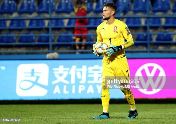 Tomas Vaclik of Czech Republic holds the ball during the UEFA Euro 2020 qualifier between Montenegro and Czech Republic at Podgorica City Stadium on...