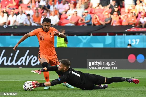 Tomas Vaclik of Czech Republic makes a save from Donyell Malen of Netherlands during the UEFA Euro 2020 Championship Round of 16 match between...