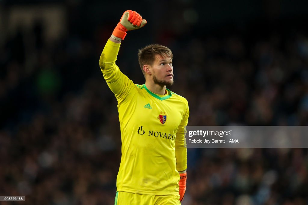 Tomas Vaclik of FC Basel celebrates during the UEFA Champions League Round of 16 Second Leg match between Manchester City and FC Basel at Etihad Stadium on March 7, 2018 in Manchester, United Kingdom.