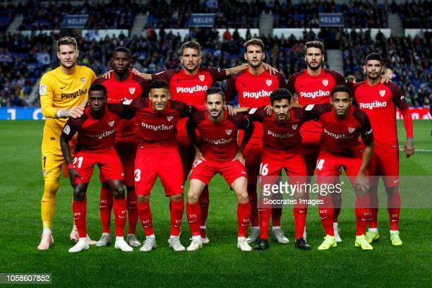 Tomas Vaclik of Sevilla FC Amadou of Sevilla FC Daniel Carrico of Sevilla FC Franco Vazquez of Sevilla FC Sergi Gomez of Sevilla FC Ever Banega of...
