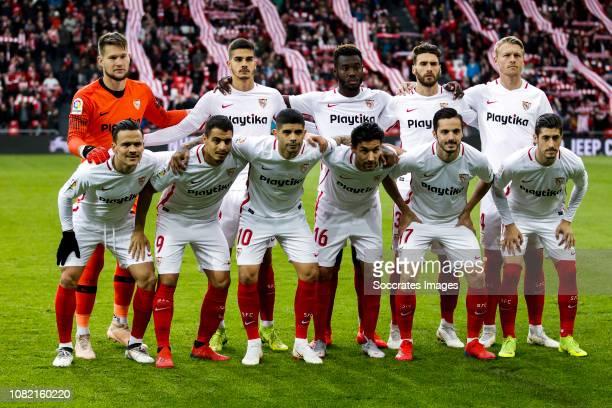 Tomas Vaclik of Sevilla FC Andre Silva of Sevilla FC Joris Gnagnon of Sevilla FC Sergi Gomez of Sevilla FC Simon Kjaer of Sevilla FC Roque Mesa of...