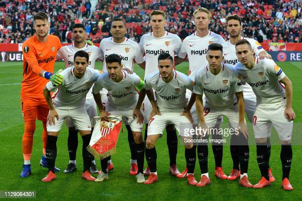 Tomas Vaclik of Sevilla FC Wissam Ben Yedder of Sevilla FC Ever Banega of Sevilla FC Gabriel Mercado of Sevilla FC Jesus Navas of Sevilla FC Daniel...