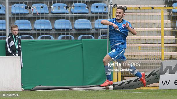 Tomas Vestenicky celebrates after scoring a goal during the UEFA Under19 Elite Round match between U19 Germany and U19 Slovakia at Carl-Benz-Stadium...