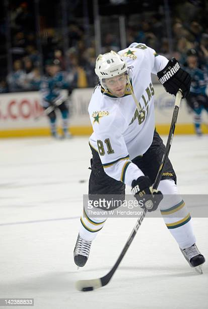 Tomas Vincour of the Dallas Stars skates in warm ups before the game against the San Jose Sharks at HP Pavilion at San Jose on March 31 2012 in San...