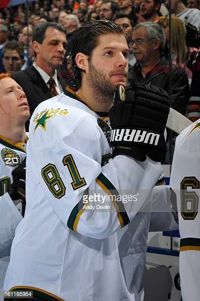 Tomas Vincour of the Dallas Stars stands for the singing of the national anthem prior to a game against the Edmonton Oilers on February 6 2013 at...