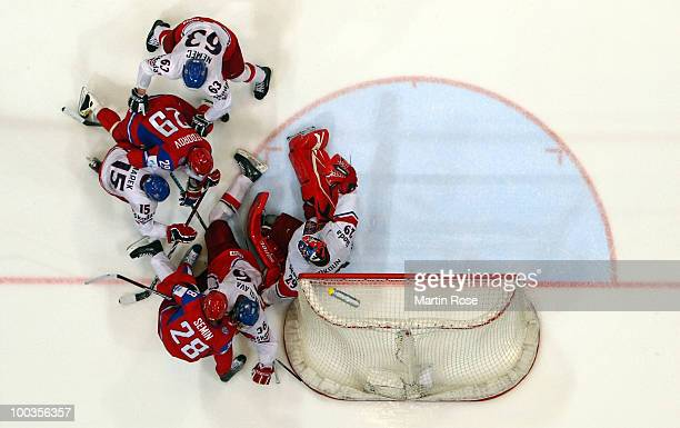 Tomas Vokoun goalkeeper of Czech Republic saves the shot of Sergei Fedorov of Russia during the IIHF World Championship gold medal match between...