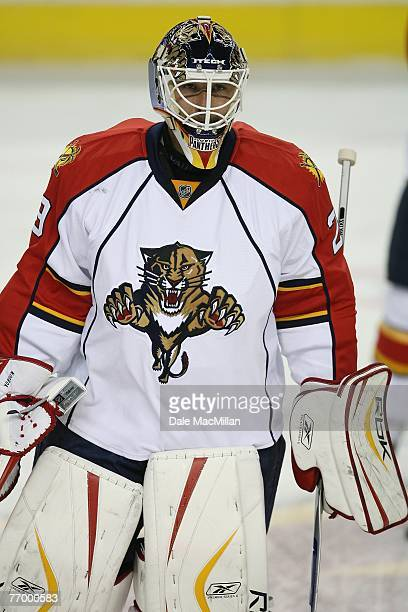 Tomas Vokoun of the Florida Panthers looks on against the Calgary Flames at the Pengrowth Saddledome on September 16 2007 in Calgary Alberta Canada