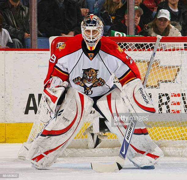 Tomas Vokoun of the Florida Panthers tends goal against the Buffalo Sabres on March 12, 2009 at HSBC Arena in Buffalo, New York.