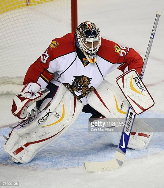 Tomas Vokoun of the Florida Panthers tends goal against the Calgary Flames at the Pengrowth Saddledome on September 16 2007 in Calgary Alberta Canada