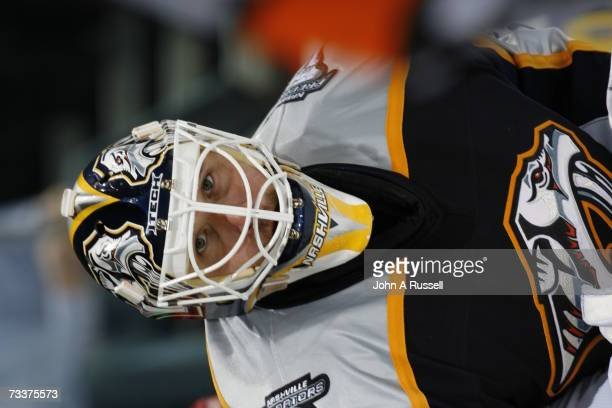 Tomas Vokoun of the Nashville Predators eyes the play against the Phoenix Coyotes at Gaylord Entertainment Center on February 19 2007 in Nashville...