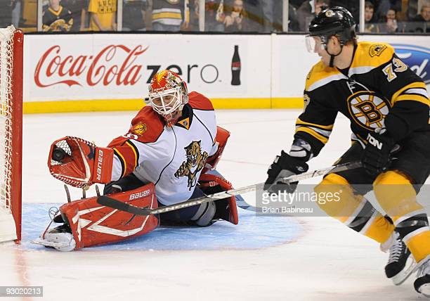Tomas Vokoun the Florida Panthers makes a save during a shoot out against Michael Ryder of the Boston Bruins at the TD Garden on November 12, 2009 in...