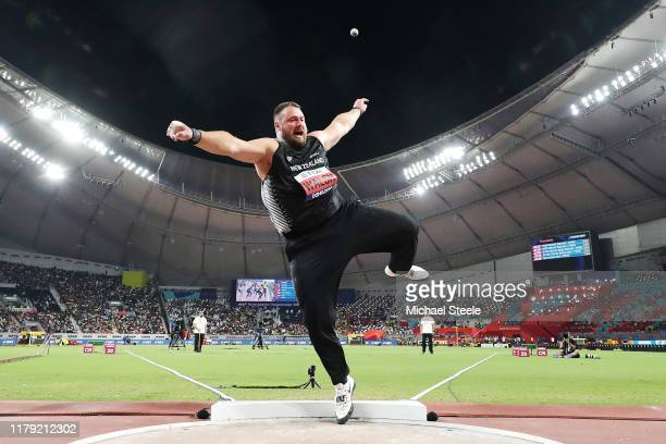 Tomas Walsh of New Zealand, bronze, competes in the Men's Shot Put final during day nine of 17th IAAF World Athletics Championships Doha 2019 at...