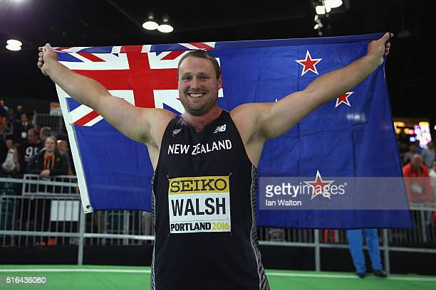 Tomas Walsh of New Zealand celebrates winning gold in the Men's Shot Put Final during day two of the IAAF World Indoor Championships at Oregon...